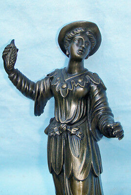 Bronze Full Length Women Holding Corn 19C French Statue On Rouge Marble