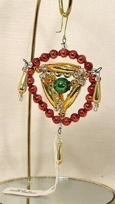 Mold Blown Beaded Glass~Red/Gold/Green Pyramid Ornament/Gift~CZECH REPUBLIC