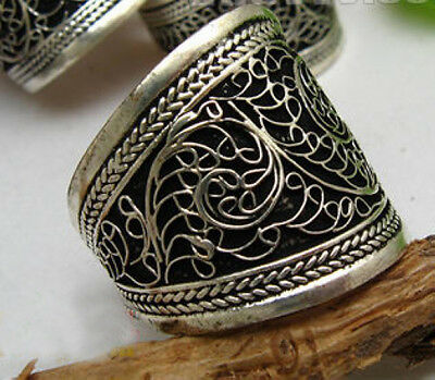 Adjustable Tibetan silver  weaving Convexity amulet Ring