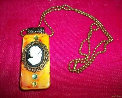 Altered Art Domino Embelished Pendant~Cameo
