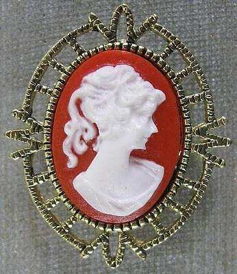 Vintage Pin~Real Nice Goldtone & Resin Cameo~AAI