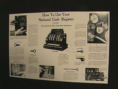 """Antique National Cash Register- """"how To Use"""" Guide 400/800 Ncr!!!"""