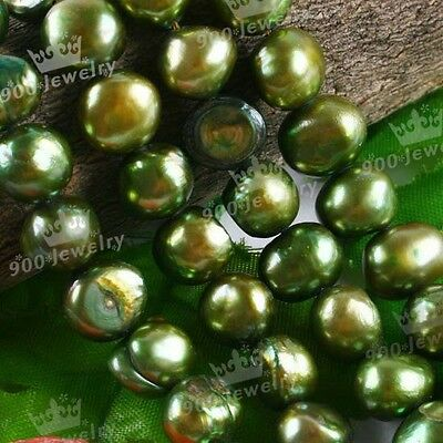 "9-10Mm Cultured Freshwater Olive Green Pearl Beads 15""l For Jewellery Craft Diy"