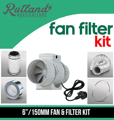 """6"""" In Line Fan, Carbon Filter & Duct Kit - Hydroponic Grow Room Tent Ventilation"""