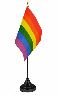 """RAINBOW TABLE FLAG 6""""X4"""" WITH BASE Gay pride festival party protest club"""
