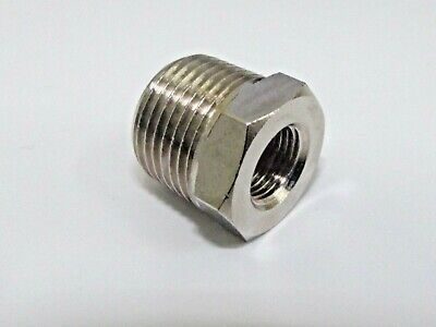 "Bsp Reducer Male 3/8"" Male to 1/4"" Bsp Female Nickel Plated for Pneumatics etc"