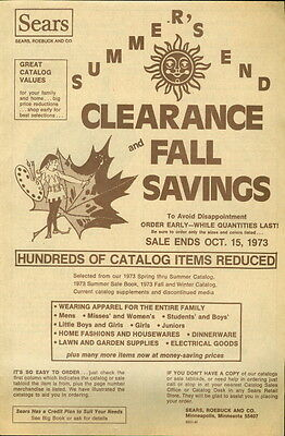 1973 Sears Catalog Fall Clearance Sale Supplement