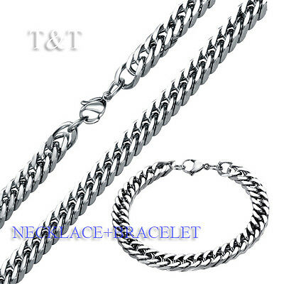 T&T 8mm 316L Stainless Steel Curb Chain Necklace with Bracelet SET
