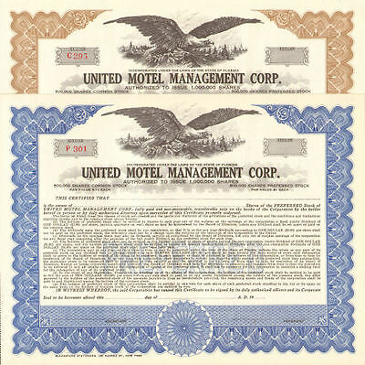 United Motel Management Corp.   Florida stock certificate share   lot of 2