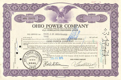 Ohio Power Company   1971 preferred stock certificate share scripophily
