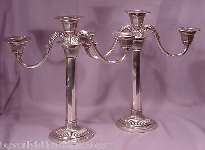 Large Pair of Gorham 1907 Sterling Silver 3 Light Candelabras 58.5 Troy Ounces