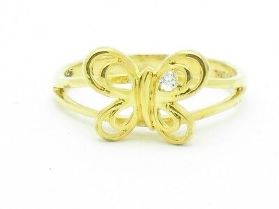 18KT YELLOW GOLD SILVER DIAMOND SET PAVE WHITE SAPPHIRE UNIQUE BUTTERFLY RING