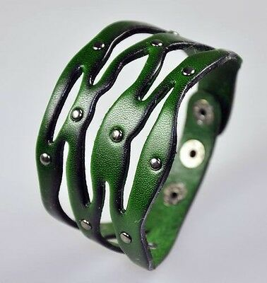 HOT Cool Genuine Leather Floral Enchased Bracelet Cuff Girl's Women's GREEN