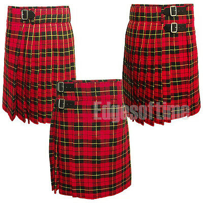 Mens Scottish Wallace Tartan Kilt Sizes From 30 To 50 Inch W/ 3 Belts & Buckles