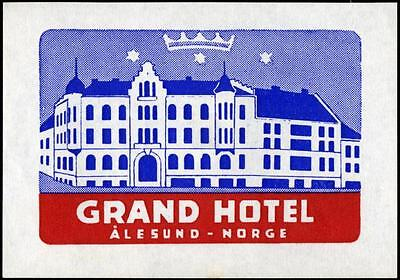 Grand Hotel - ALESUND NORWAY - Great Old Luggage Label