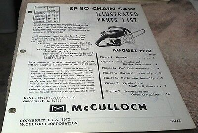 1972  McCULLOCH  SP80  Chain Saw  Parts Book