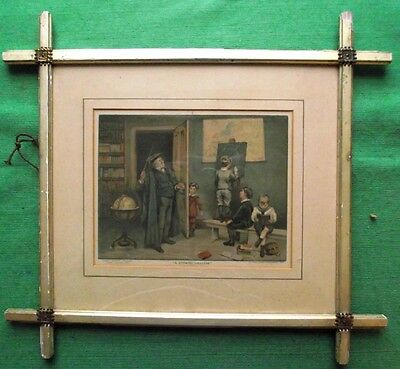 "Victorian 1888 ""A Striking Likeness"" School Room Caning  Chromolithograph Print"