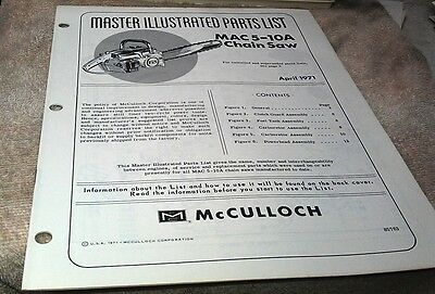 1971  McCULLOCH MAC 5-10A  Chain Saw  Parts Book