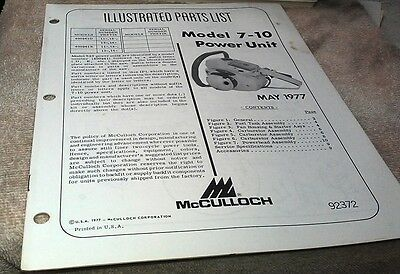 1977  McCULLOCH Model 7-10 Power Unit  Chain Saw  Parts Book