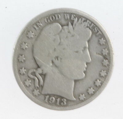 1913 US Mint Silver Barber Half Dollar 50 Cent Coin