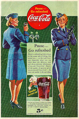 COCA COLA COMPANY 1942 PAUSE GO REFRESHED USA NAVY WOMEN AD 5 CENT COKE
