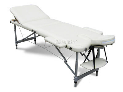 Light Weight Portable Massage Table Beauty Bed 3 Section ALU + Cover Bag Beige