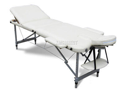 Beige Portable Massage Table Bed Beauty Therapy Couch 3 Section ALU + Cover Bag
