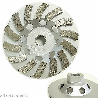"4"" Premium Turbo Diamond Cup Wheel for Concrete 14Seg 5/8""-11 Threads 30/40 Grit"