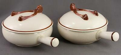 Lot 2 Vintage Pottery Luxembourg Wishbone Motif Handled Casserole Dishes