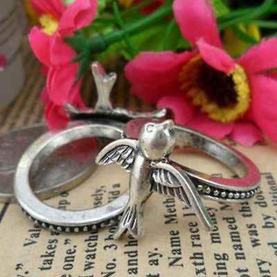 Cute silver small flying bird charm ring 5 sizes