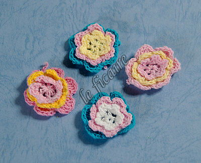 "1.5"" 3-Color Cotton Hand Crochet Flower Appliques Sew On Crafts Bows x 20 Mix A"