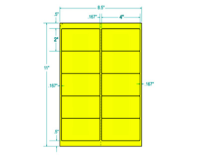"4"" x 2"" (1,000) Neon Fluorescent Yellow Address Labels Stand Out  (312186)"