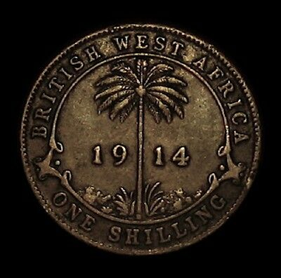 RARE 1914 BRITISH WEST AFRICA SHILLING STERLING SILVER COIN BEAUTIFUL TONED COIN