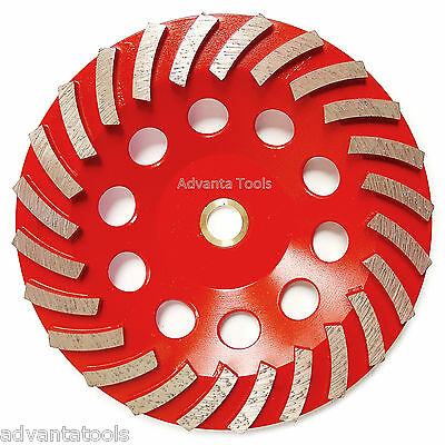 "7"" Spiral Turbo Diamond Grinding Cup Wheel for Concrete 24 Seg - 7/8""-5/8"" Arbor"