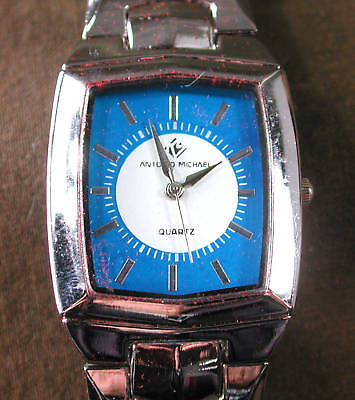 Gents Antonio  Michael Blue White  Square Face Watch Steel Bracelet