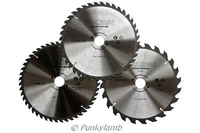 3PC 235mm TCT Circular Saw Blades 24, 40 & 48 Teeth Saws with Adapter Rings