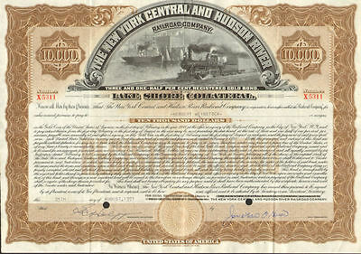 New York Central and Hudson River Railroad > Lake Shore $10,000 bond certificate