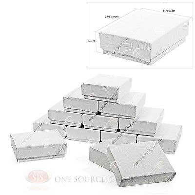 """12 White Swirl Cotton Filled Jewelry Gift Boxes  2 1/8"""" X 1 5/8"""" X 3/4"""""""