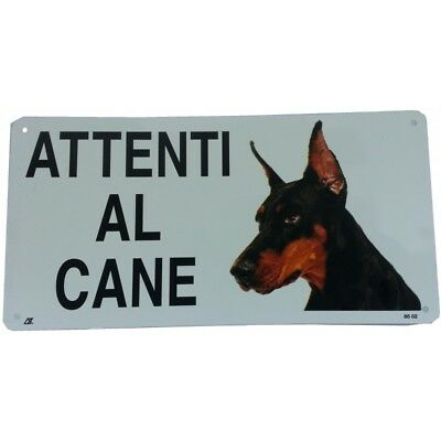 Cartello Attenti al Cane DOBERMAN in metallo