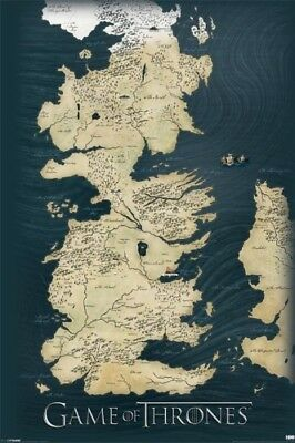Game Of Thrones Map POSTER 61x91cm NEW * Winterfell Westeros King's Landing Wall