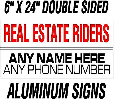 "10 custom Heavy Duty REAL ESTATE realtor rider signs /thick .040"" WHITE ALUMINUM"