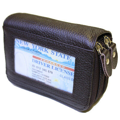 Genuine Leather Credit Card Holder Wallet - BROWN