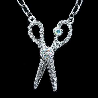 Unique Scissors Use Swarovski Crystal 18K White Gold-Plated Necklace