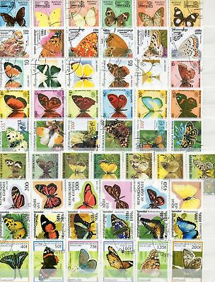 Timbres Papillons : 5 Series Completes Du Monde / 5 Series Full Butterflies