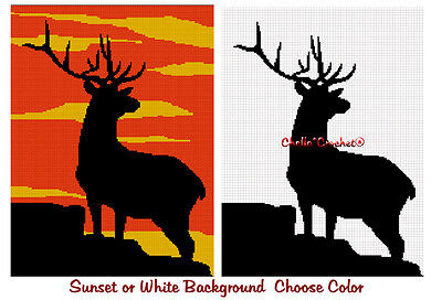 Deer Buck Silhouette Sunset or White Background Afghan Crochet Pattern Graph