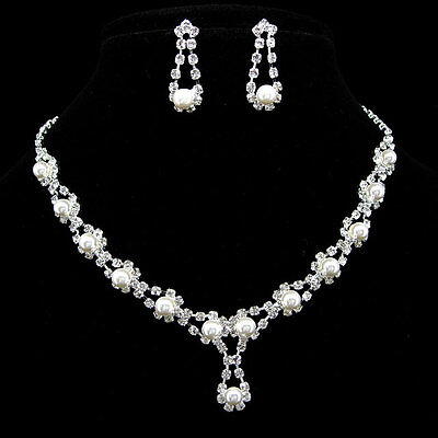 Elegant Wedding or Party Pearl Crystal Necklace Earrings Set