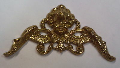 Cast Brass Clock Dial Corner Cherub Head Spandrel!!
