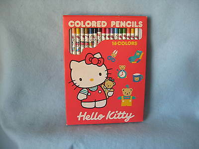 Sanrio Hello Kitty 16-Colored Pencils Set Doll Vintage Collectible 1976-1989 NEW