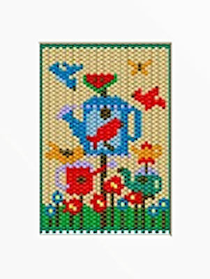 WATERING CAN BIRD FEEDER BEADED BANNER PDF PATTERN ONLY