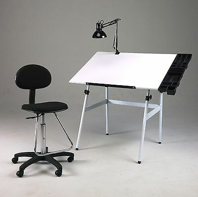 Folding Drawing Table Desk Combo w/ Chair, Side Tray & Lamp | Hobby Art Drafting